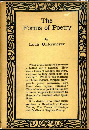 THE FORMS OF POETRY. A Pocket Dictionary of Verse. Inscribed by Louis Untermeyer. Louis Untermeyer