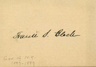 Small card signed by Frank Swett Black (1853-1913). Frank Swett Black