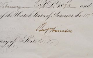APPOINTMENT OF BRITISH CONSULATE FOR LOUISIANA, ARKANSAS, MISSISSIPPI, ALABAMA AND FLORIDA. Signed by Benjamin Harrison as President.