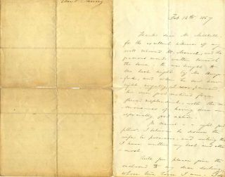 "Letter handwritten and signed by Frances Elizabeth Barrow ""Aunt Fanny"" (1822-1894). Frances..."
