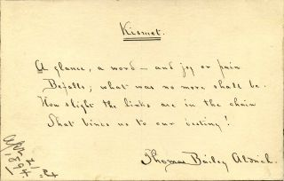 Poem handwritten and signed by Thomas Bailey Aldrich (1836-1907). Thomas Bailey Aldrich