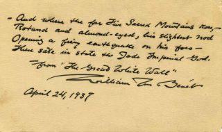 Poem handwritten and signed by William Rose Benet. William Rose Benet
