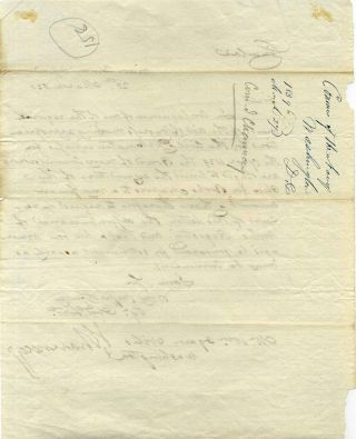 Letter handwritten and signed by Isaac Chauncey.