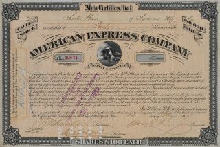 STOCK CERTIFICATE signed by William George Fargo (1818-1881); American Express; Wells Fargo