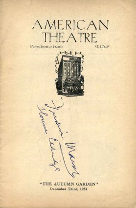 Signed Erlanger Theatre Stagebill (Program); The Autumn Garden. Fredric March, Florence Eldridge