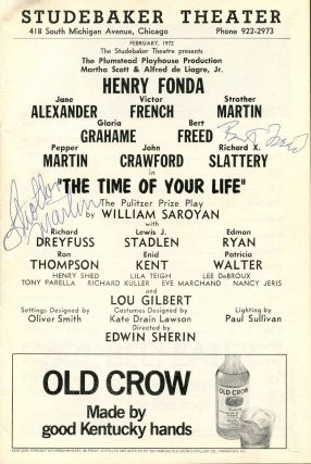 Signed Studebaker Theatre Stagebill (Program); The Time of Your Life. Strother Martin, Bert Freed