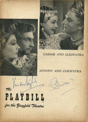 Ziegfeld Theatre Stagebill (Program) signed by Vivien Leigh (1913-1967) and Laurence Olivier (1907-1989); Bernard Shaw's Caesar and Cleopatra; Antony and Cleopatra. Vivien Leigh, Laurence Olivier.