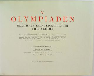 V. OLYMPIADEN. Olympiska spelen i Stockholm 1912 i bild och ord. [V or 5th Olympiad] [The 1912 Olympic Games at Stockholm in pictures and word].