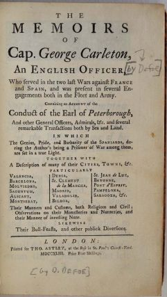 THE MEMOIRS OF CAP. GEORGE CARLETON, An English Officer, Who served in the two last Wars against...