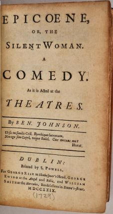BEN JOHNSON'S PLAYS. [Jonson]. Volume II of a two volume set. Benjamin Jonson, 1573?-1637