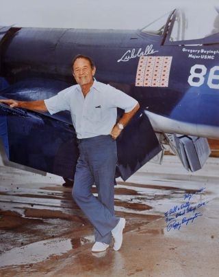 Signed Photograph. Gregory Boyington, Pappy Boyington