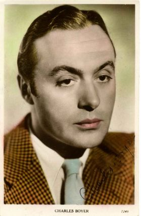 Signed photographic postcard. Charles Boyer