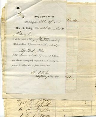 Civil War era archive of shipping documents for the Schooner Armenia Bartlett for passage from...