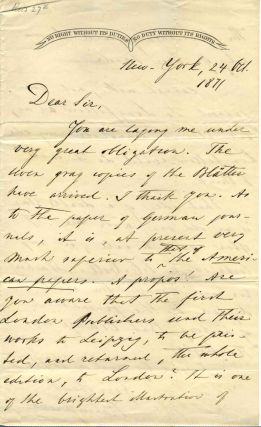 Two page letter handwritten and signed by Francis Lieber (1800-1872). Francis Lieber