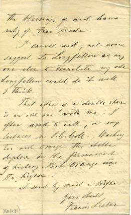 Two page letter handwritten and signed by Francis Lieber (1800-1872).
