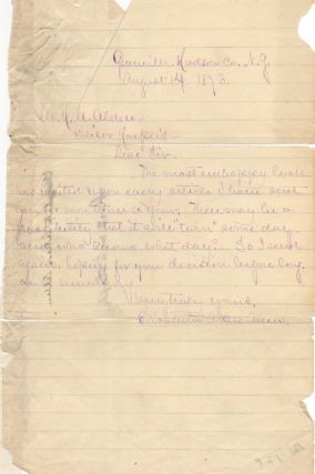 One page letter handwritten and signed by Elizabeth Akers Allen (1832-1911). Elizabeth Akers Allen