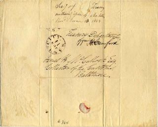 One page letter handwritten and signed by William H. Crawford (1772-1834).