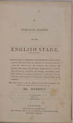A COMPLETE HISTORY OF THE ENGLISH STAGE. Five volume set.
