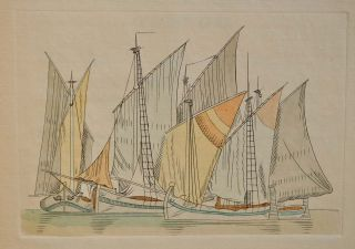 SAILING SHIPS AND BARGES OF THE WESTERN MEDITERRANEAN AND ADRIATIC SEAS. A Series of Copper Plates engraved in the Line manner by Edward Wadsworth and coloured by hand, with an Introduction and Brief Descriptions by Bernard Windeler.