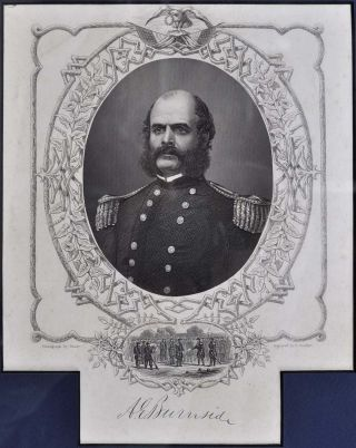 Signature of Ambrose Everett Burnside (1824-1881) framed with 1866 Grand Army of the Republic...