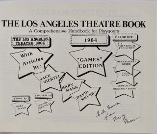 THE LOS ANGELES THEATRE BOOK. A Comprehensive Handbook for Playgoers. Signed by Mary Mann.