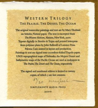 WESTERN TRILOGY. The Prairie. The Desert. The Ocean. Limited edition signed by Mary Heebner.