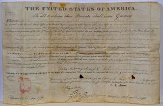 LAND PATENT. Land Grant. Document signed by President J. Q. Adams. John Quincy Adams, J. Q. Adams