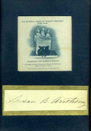 Autograph of Susan B. Anthony. Susan B. Anthony