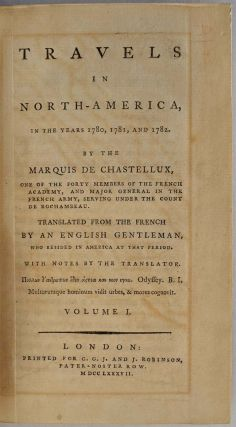 TRAVELS IN NORTH AMERICA, In the Years 1780, 1781, and 1782. Two volume set.