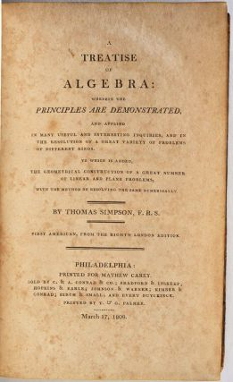 A TREATISE OF ALGEBRA. First American, from the Eighth London Edition.