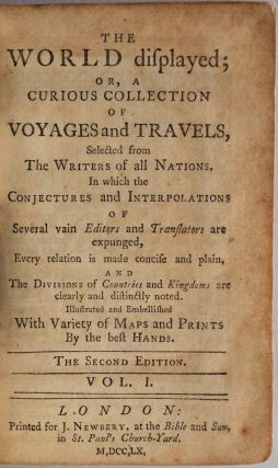 THE WORLD DISPLAYED; or, A Curious Collection of Voyages and Travels, selected from the Writers of all Nations. 20 volume set bound in 10 books.