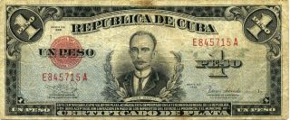 Cuban 1938 one peso banknote/currency signed by Ernest Hemingway.