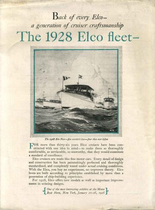 THE 1928 ELCO FLEET. [Promotional Manufacturer's Sales Pamphlet - Trade Catalog]. Elco Motor Boats