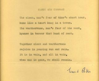 "Poem typed and signed by Conrad Aiken originally published in the 1942 work ""Brownstone Eclogues,..."