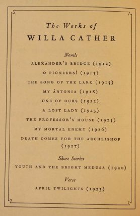 SHADOWS ON THE ROCK. Limited edition signed by Willa Cather.