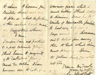 Letter handwritten and signed by architect George Gilbert Scott (1811-1878).
