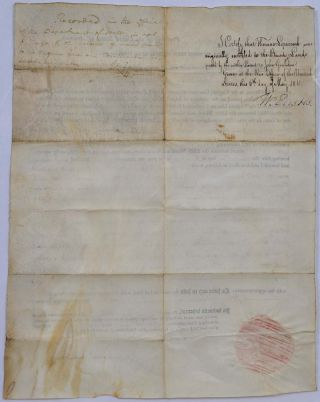 1811 Land Grant signed by James Madison as President and James Monroe as Secretary of State