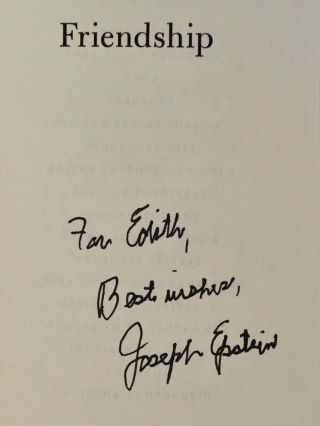 Friendship: An Expose. Signed and inscribed by Joseph Epstein.