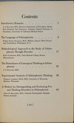 LANGUAGE AND THOUGHT IN SCHIZOPHRENIA. Collected Papers. Presented at the Meeting of the American Psychiatric Association, May 12, 1939, Chicago Illinois and Brought up to Date.