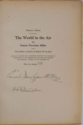 THE WORLD IN THE AIR. The Story of Flying in Pictures. Volume one only containing all autographs. Limited edition signed by eight pioneers of aviation history.