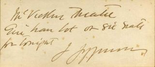 A note handwritten and signed by Joseph Jefferson framed with a photographic studio portrait....
