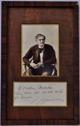 A note handwritten and signed by Joseph Jefferson framed with a photographic studio portrait.