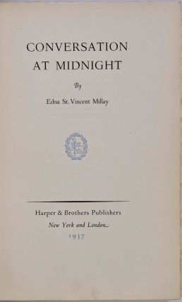 CONVERSATION AT MIDNIGHT. Limited edition signed by Edna St. Vincent Millay.