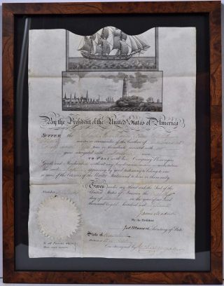 MEDITERRANEAN PASSPORT. Ship's Pass. Signed by James Madison as President and James Monroe as...