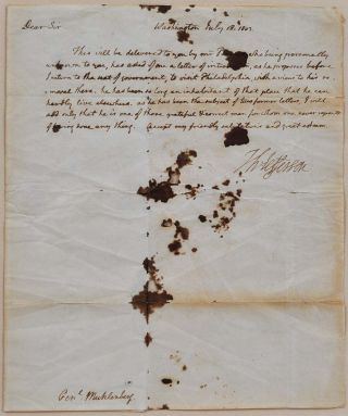 Letter handwritten and signed by Thomas Jefferson while President.