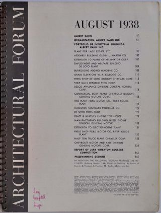 ARCHITECTURAL FORUM. Volume 69, Number Two. August 1938. Signed and inscribed by Albert Kahn.