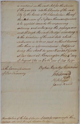 King's Warrant (document) relating to London Bridge signed by King George II.