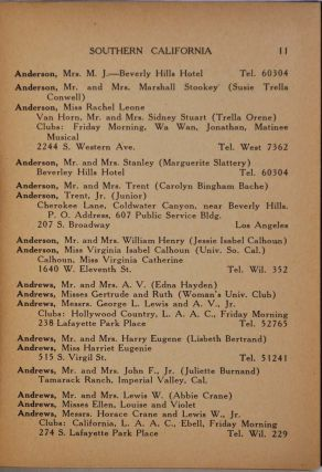 SOUTHWEST BLUE BOOK 1922-1923. A Society Directory of Names, Addresses, Telephone Numbers, Names of Clubs and Their Officers.