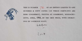 MARGINALIA. Limited edition signed by W.H. Auden and Laurence Scott.