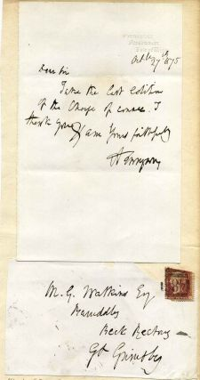Letter handwritten and signed by Alfred Lord Tennyson (1809-1892). Alfred Lord Tennyson